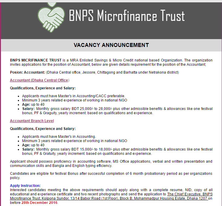 Bnps microfinance trust accountant job circular vacancy if you are appropriate for this jobs please apply along with a complete resume copy of all educational nid and experience certificate and two recent yadclub Image collections