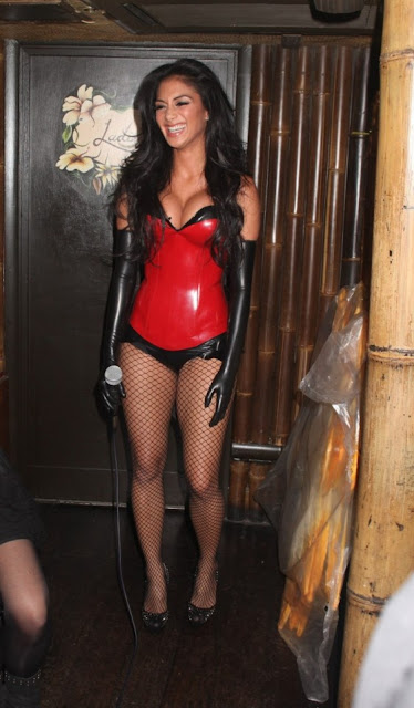 Nicole Scherzinger sexy Red Costume Mahiki Nightclub London