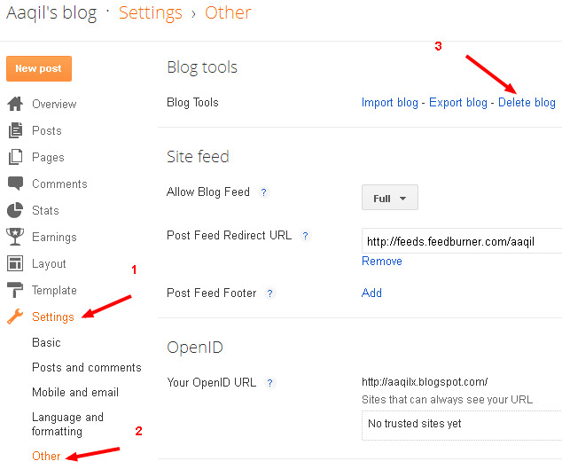 Delete Your Blog in Blogger