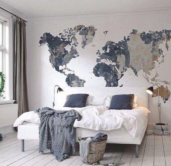 världskarta tapet sovrum fototapet svart vit