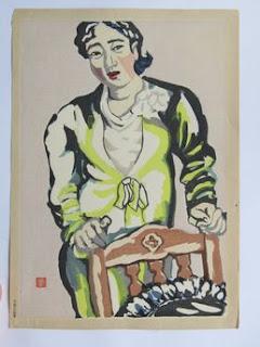 安井曾太郎 椅子に凭る女の木版画販売買取ぎゃらりーおおの