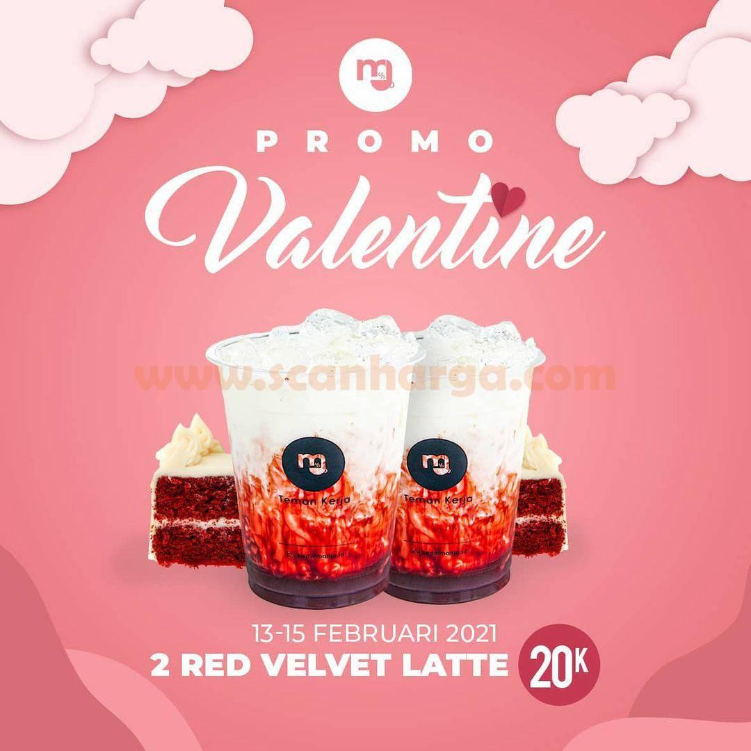 Kedai Manja Promo Valentine! Beli 2 Es Red Velvet Latte cuma 20K