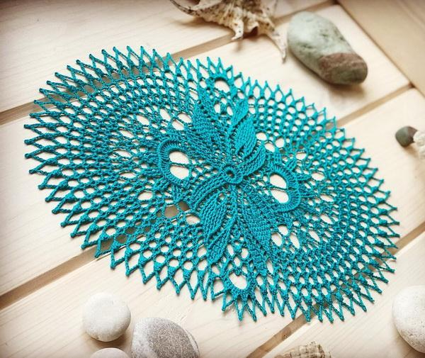 Crochet Doily Pattern - Easy, Oval, Turquoise