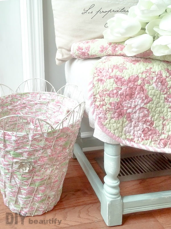 pink and green fabric woven basket