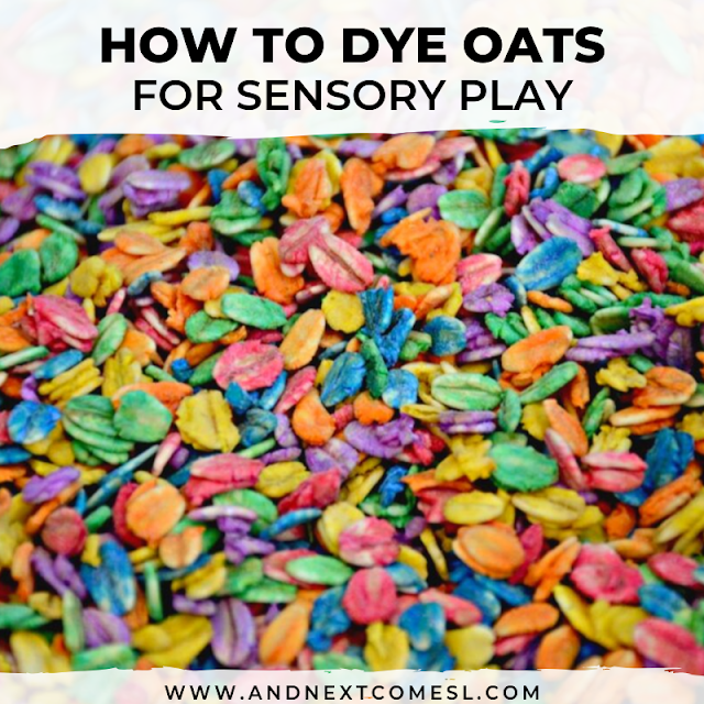 Rainbow oats sensory bin idea for kids