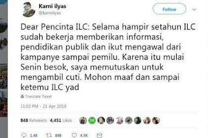 Cutinya Habis Pengumuman Pemilu Saja, Datuk Karni Ilyas