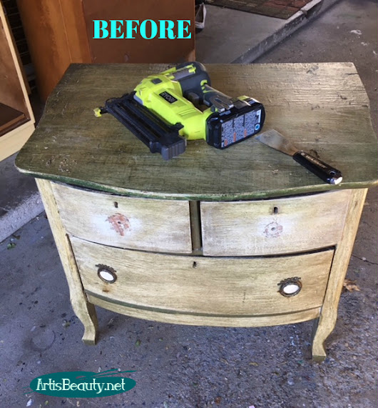 Vintage Small Chest of Drawers Makeover using Paint and Transfers