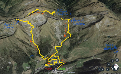 The route from Foppolo to Rifugio Dordona and back.