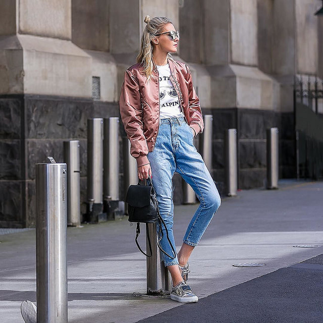 outfit rosa bomberjacke frühling 2019