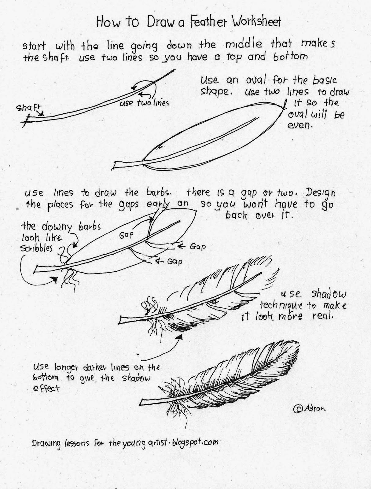 how to draw worksheets for the young artist how to draw a feather free worksheet. Black Bedroom Furniture Sets. Home Design Ideas