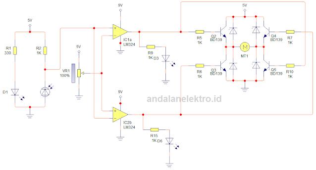 Skema robot line follower 2 sensor driver transistor