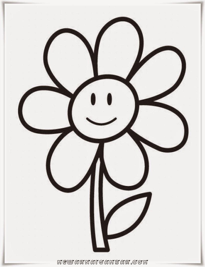 Gambar Mewarnai Bunga Anak Tk Gambar Mewarnai Bunga