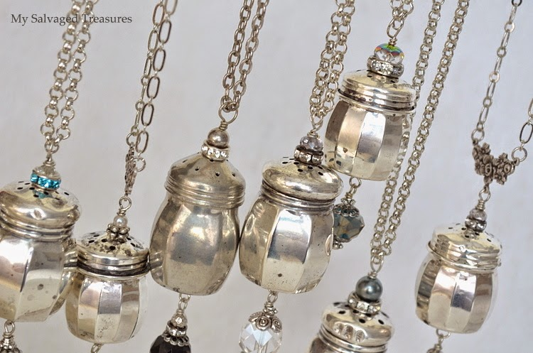 repurposed jewelry from salt and pepper shakers