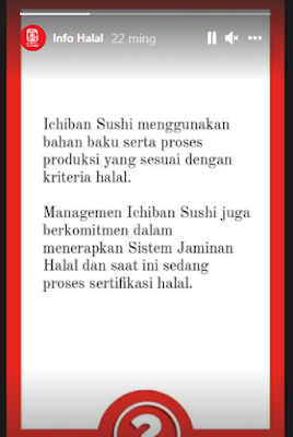 apakah ichiban sushi halal
