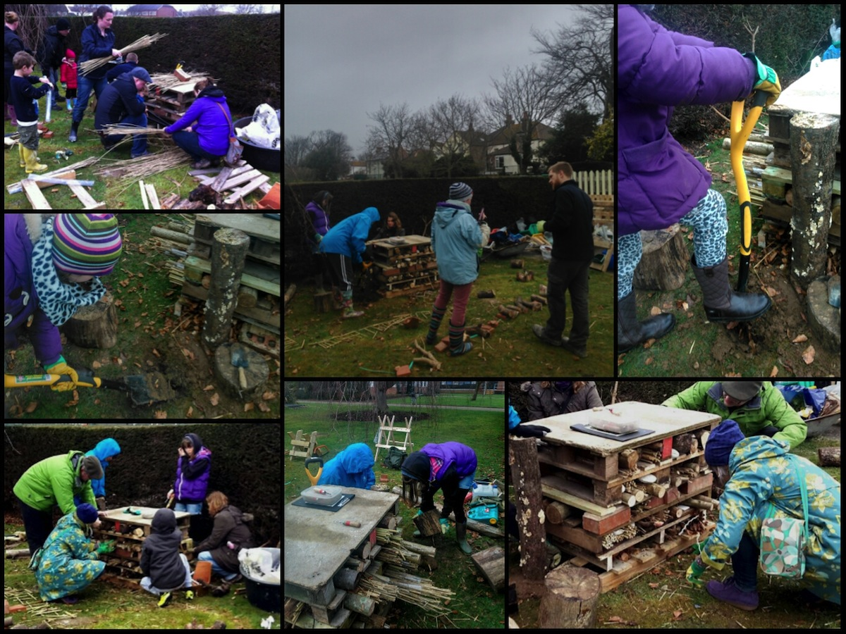 Building a bug hotel in Beach House Park, Worthing