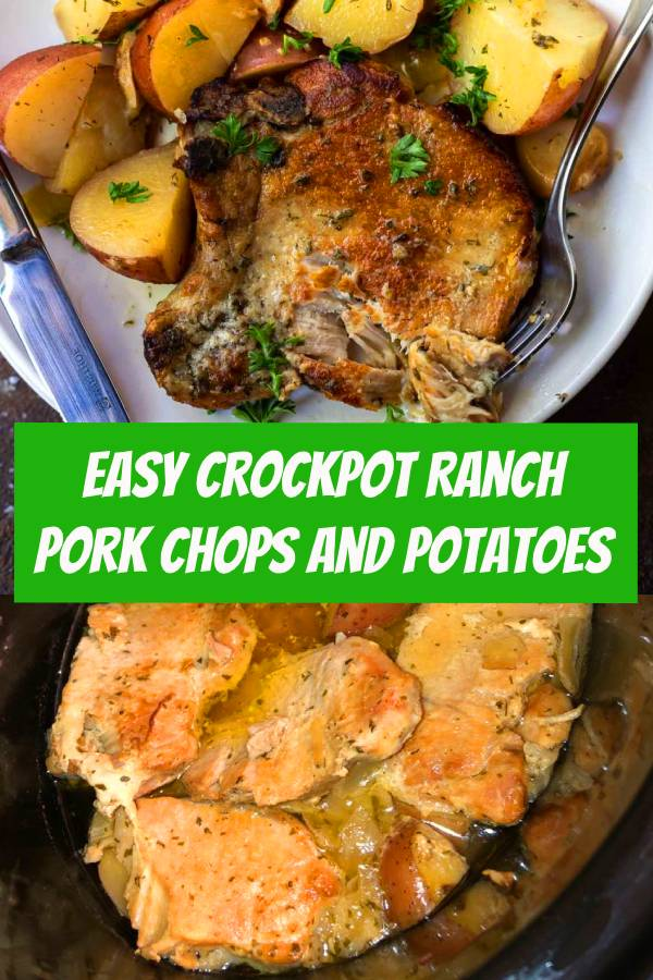 Crockpot Ranch Pork Chops and Potatoes is a super quick, easy and no-fuss weekday dinner recipe. Just drop everything in your slow cooker and forget about it. Slow cooker pork chops will be a new family favorite! #crockpotporkchops #crockpotranchporkchops #crockpotdinner #porkchopsandpotatoes #easydinner