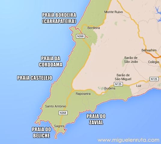 Mapa-playas-Algarve-oeste