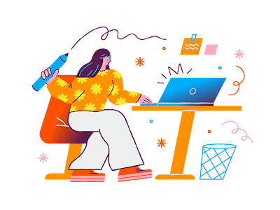 futuristic illustration of person at computer with bright vibes