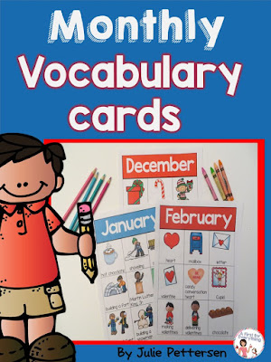 Monthly Vocabulary cards for your writing center or for your ELL students. Easily indentifiable key words and pictures. Two charts/word cards per month.