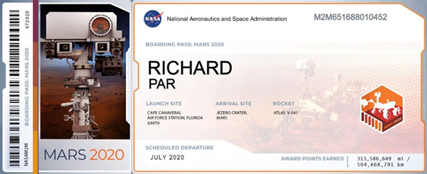 My participation certificate for NASA's Mars 2020 mission.