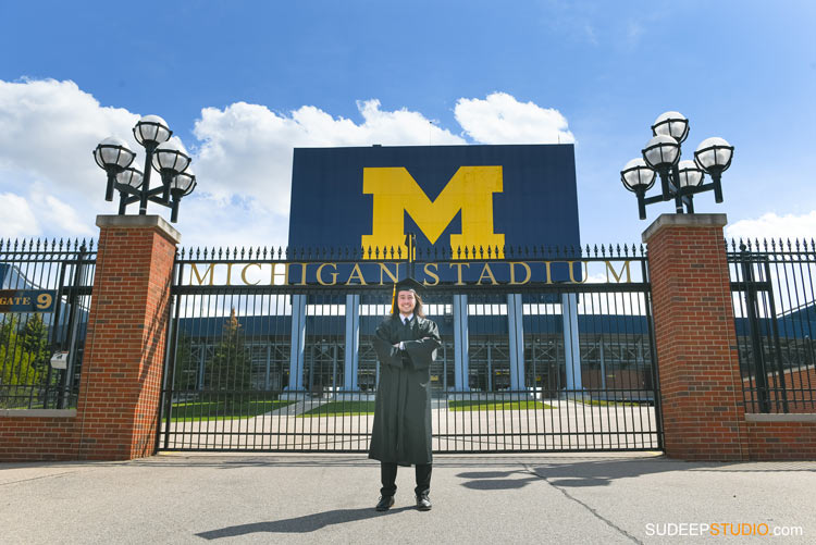 University of Michigan Graduation Portraits on Campus by SudeepStudio.com Ann Arbor Graduation Portrait Photographer