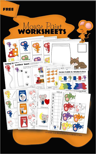 FREE Mouse Paint worksheets for kids from toddler, preschool, prek, and kindergarten. These free printables based on the book Mouse Paint are great for learning about colors, shapes, letter m, counting, and more.