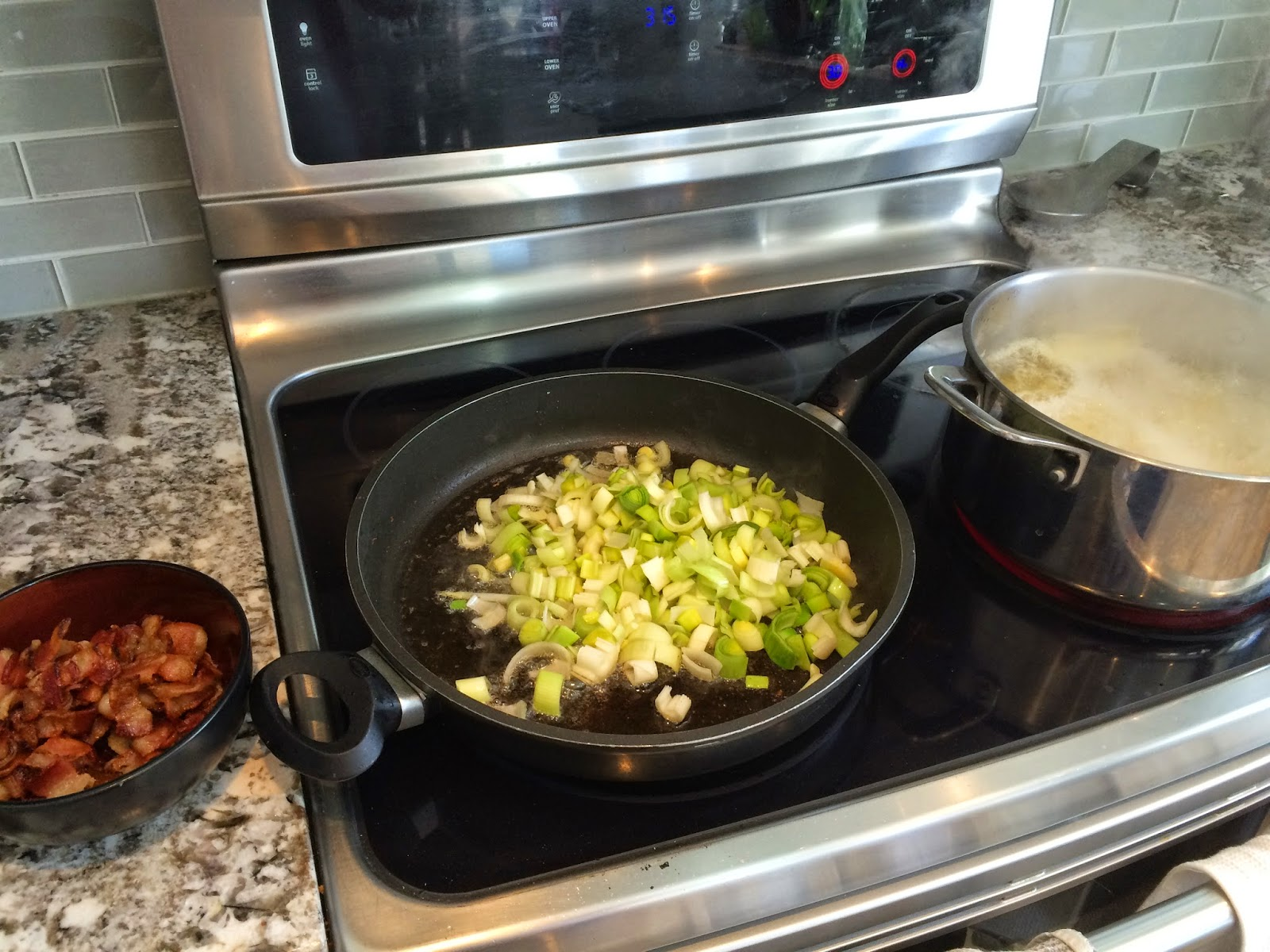 cooking Potato, Leek and Bacon Soup