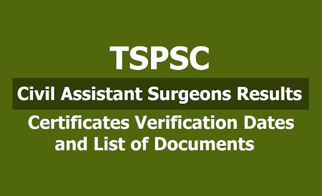TSPSC Civil Assistant Surgeons Results, Certificates Verification Dates and List of Documents 2019