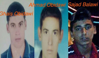 Ghais Obidawi, 25 at time of arrest; Ahmad Obidawi, 20 at time of arrest; and Sajjad Balawi.