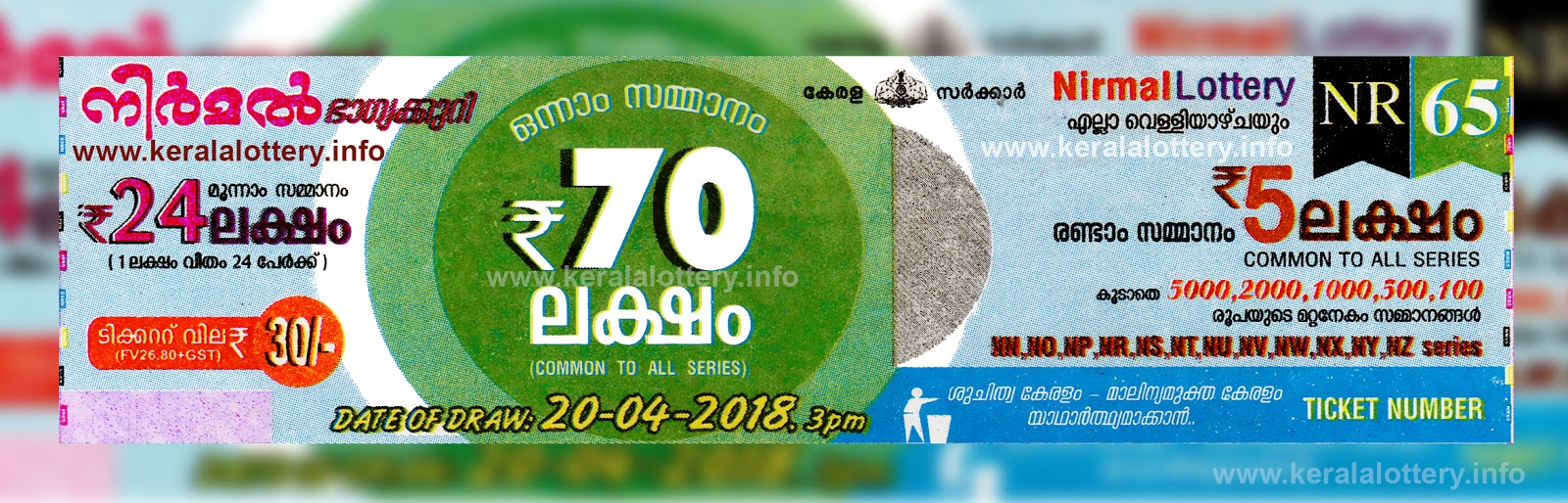 Kerala Lottery Results Today 20 03 2018 LIVE : Nirmal NR-65