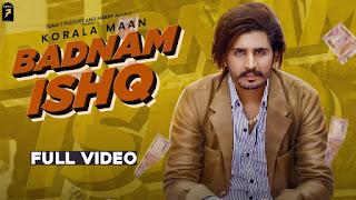 BADNAAM ISHQ (बदनाम इश्क़ Lyrics in Hindi) - Korala Maan