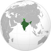 Location of India on the globe
