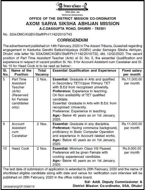 SSA Dhubri Recruitment 2020 Last Date Extended Notice