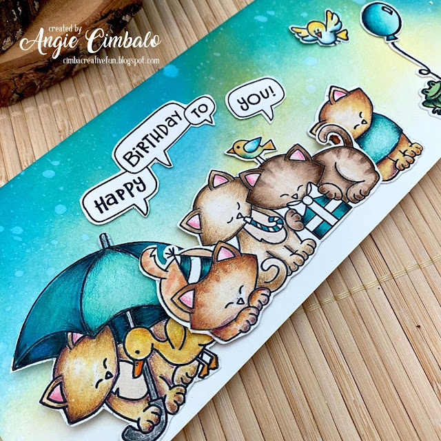 Slimline Cat Birthday Card by August Guest Designer Angie Cimbalo | Newton's Birthday Trio, Newton's Birthday Flutter and Newton Dreams of Italy Stamp Sets by Newton's Nook Designs  #newtonsnook #handmade