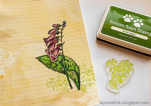 Layers of ink - Vintage Foxglove Art Journal Tutorial by Anna-Karin Evaldsson.