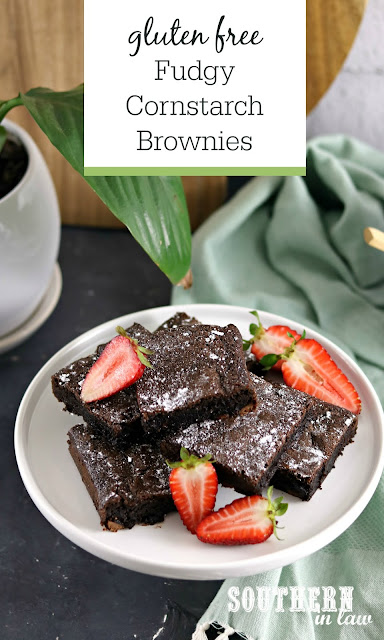 Flourless Fudgy Cornstarch Brownies Recipe - gluten free, easy, chewy, dessert, the best brownie recipe