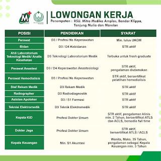 Lowongan Kerja Sumatera Utara : ATLM, Perawat, Bidan, Radiografer, dll Di RS Mitra Medika Amplas, Bandar Klippa, Tanjung Mulia dan Marelan