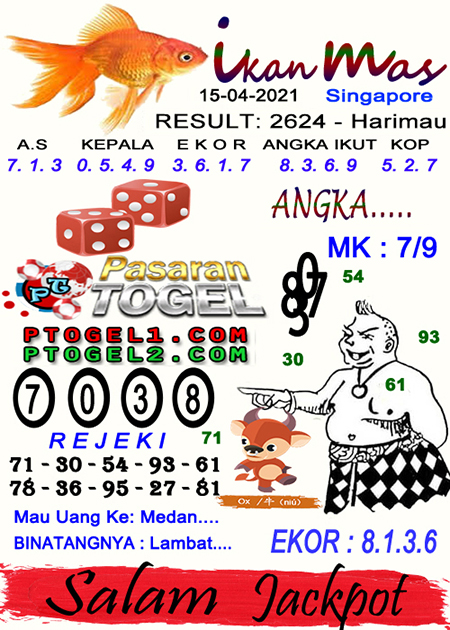 Syair Ikan Mas SGP Kamis 15-04-2021