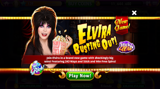 Play screen of Elvira Busting Out at Hit It Rich Slots
