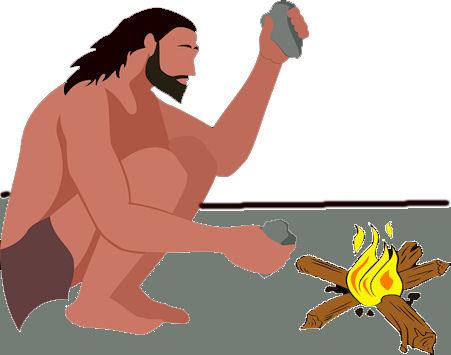 Piirros kuvitellusta kivikauden miehestä nuotiolla piikipala kädessään.