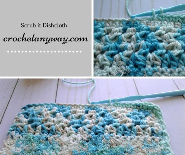 crocheting a dishcloth with scrub off yarn
