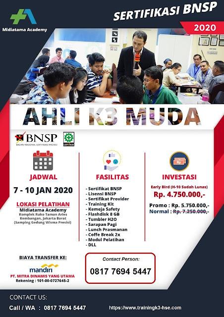 Ahli K3 Muda BNSP tgl. 7-10 Januari 2020 utk SMA/SMK