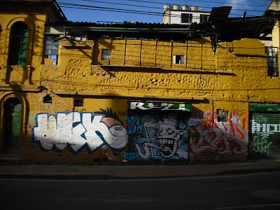 A typical 'colourful' building in Bogotá's La Candelaria district