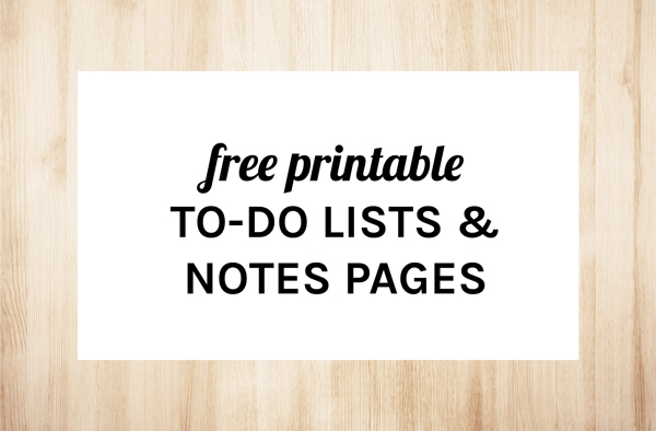Free Printable To Do Lists & Notes Pages by Eliza Ellis