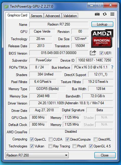 gpu VGA Powercolor Radeon R7 250 2GB DDR5 128Bit