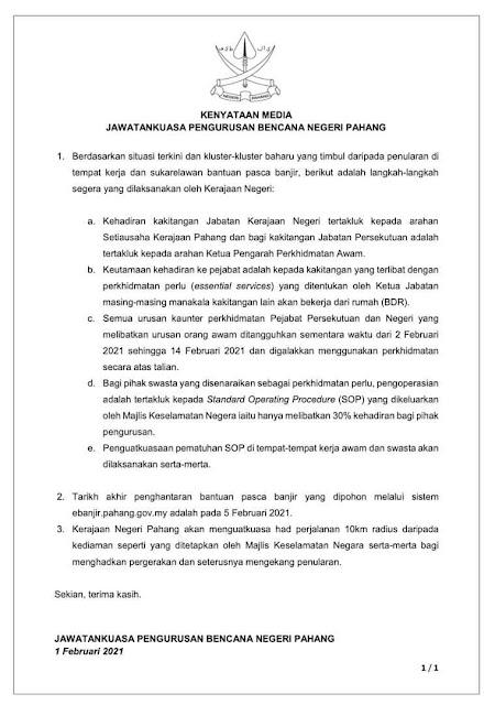 Semua Kaunter Perkhidmatan Awam Di Pahang Ditangguh Bermula 2 Februari