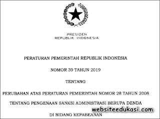 PP Nomor 39 Tahun 2019 tentang Pengenaan Sanksi Administrasi Berupa Denda di Bidang Kepabeanan