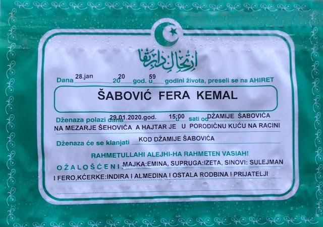 Na ahiret preselio Šabović Fera Kemal