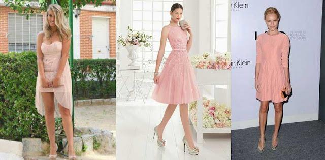 vestidos y zapato plateado