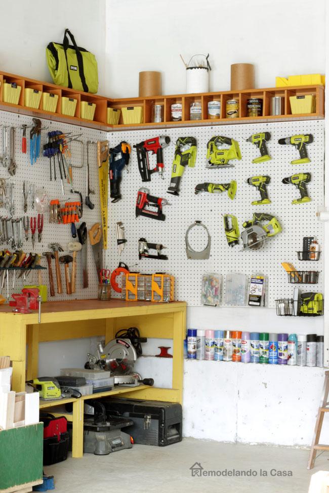 Garage pegboard with Ryobi tools